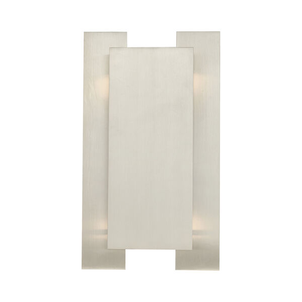 Varick Brushed Nickel Eight-Inch Two-Light ADA Wall Sconce with Brushed Nickel Metal Shade, image 6