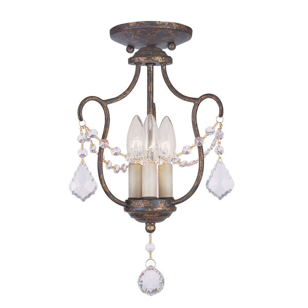 Chesterfield Venetian Golden Bronze Three-Light Convertible Chain Hang/Ceiling Mount, image 1
