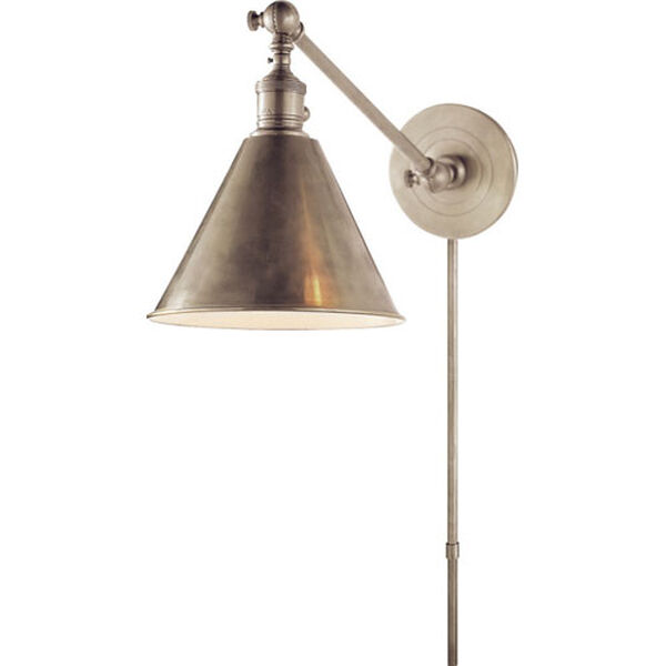 Antique Nickel Boston Functional Library Fixture, image 1