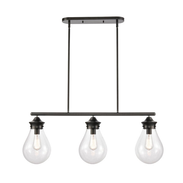 Genesis Matte Black 39-Inch Three-Light Island Chandelier with Clear Glass Shade, image 1