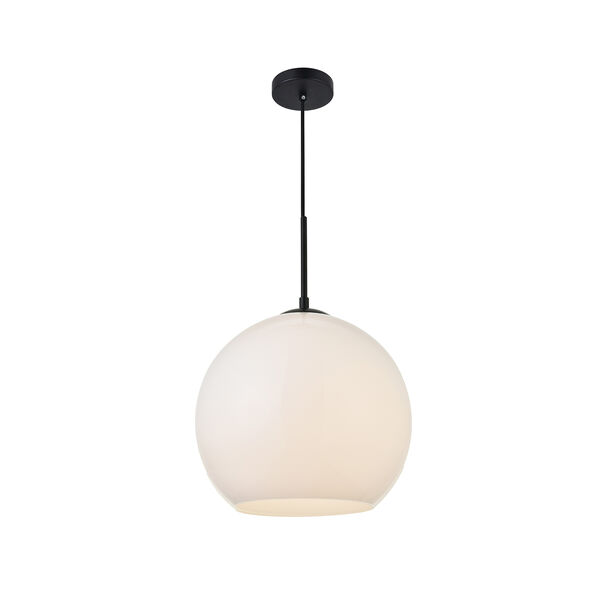 Baxter Black and Frosted White 11-Inch One-Light Pendant, image 3