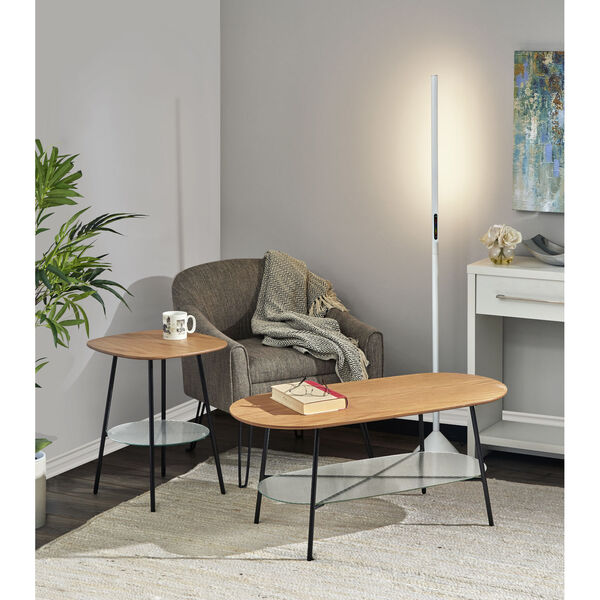 Diane Natural Wood and Black Two-Tiered Coffee Table, image 2