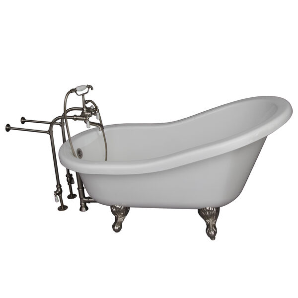 Brushed Nickel Tub Kit 60-Inch Acrylic Slipper, Tub Filler, Supplies, and Drain, image 1