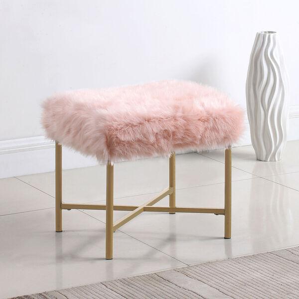 Faux Fur Square Ottoman - Pink, image 2