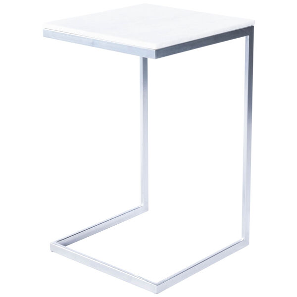 Lawler Nickel Metal and Marble End Table, image 2
