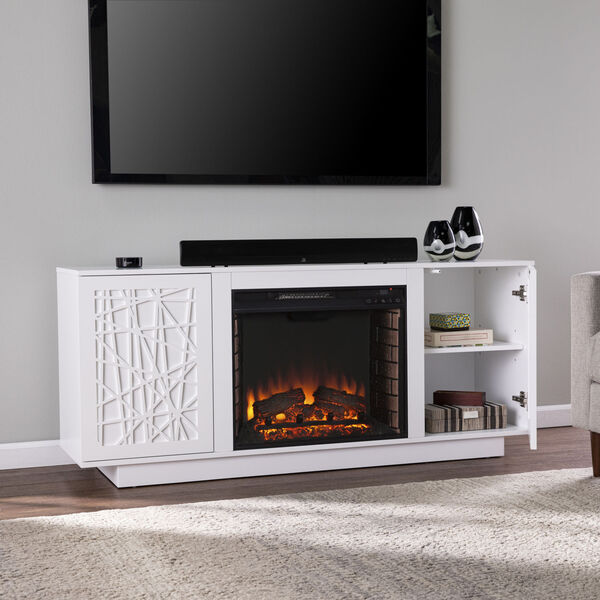 Delgrave White Electric Fireplace with Media Storage, image 1