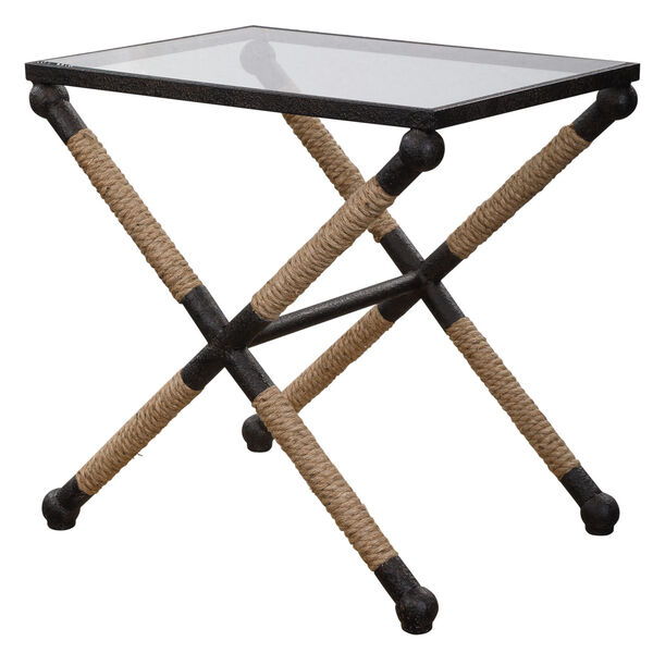 Braddock Black, Brown and Clear 16-Inch Coastal Accent Table, image 3