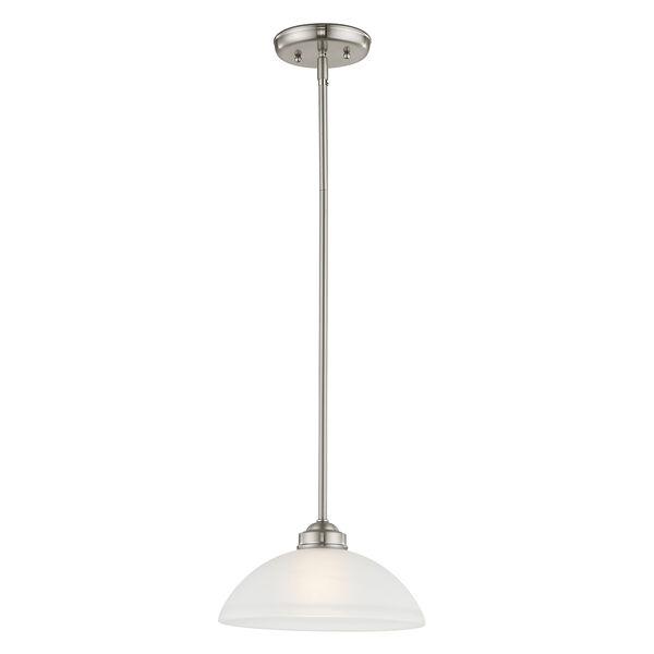 Somerset Brushed Nickel One-Light 11-Inch Pendant with Satin Glass, image 5