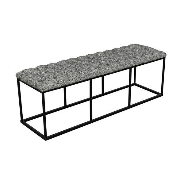 Black and White 52-Inch Fabric and Metal Bench, image 4