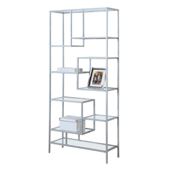 Bookcase - 72H / Silver Metal with Tempered Glass, image 2