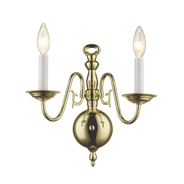 Williamsburgh Polished Brass Two-Light Wall Sconce, image 1