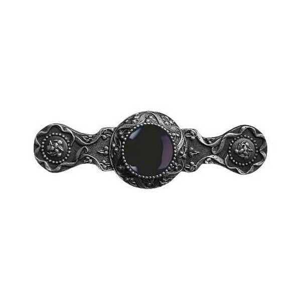Antique Pewter Victorian Jewel Onyx Pull, image 1