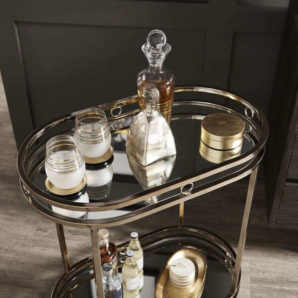 Lissa Champagne Gold Oval Bar Cart, image 5