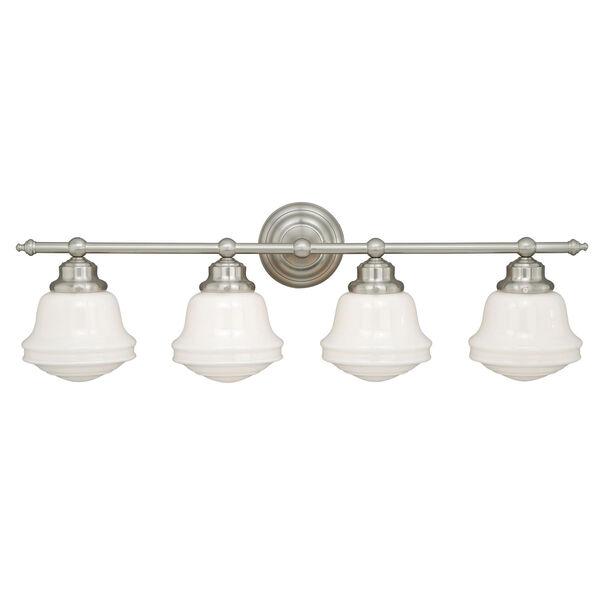 Huntley Satin Nickel Four-Light Vanity Fixture, image 1