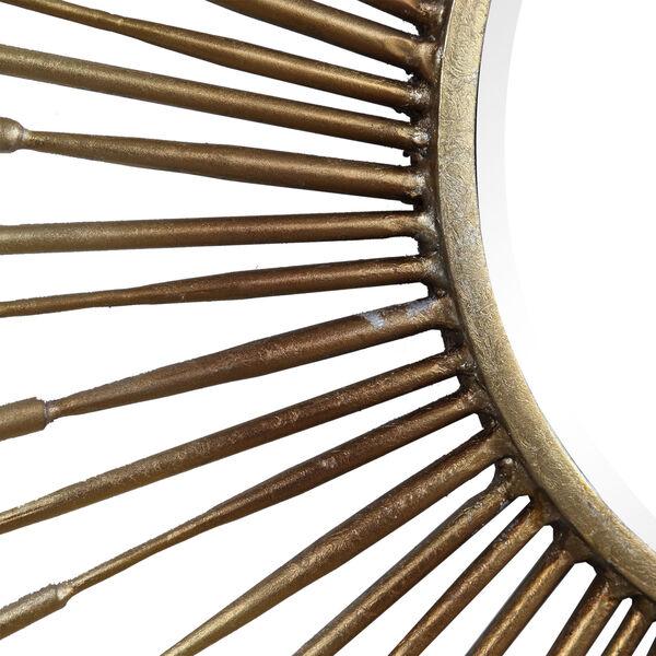 Golden Antiqued Gold Leaf Rays Starburst Mirror, image 4