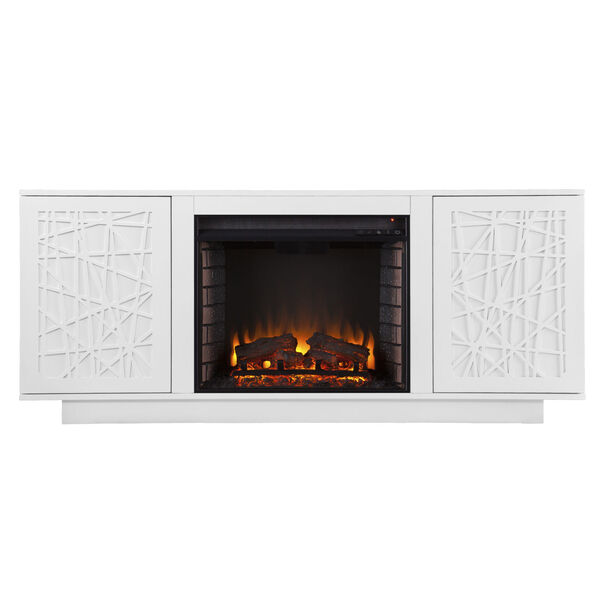 Delgrave White Electric Fireplace with Media Storage, image 4