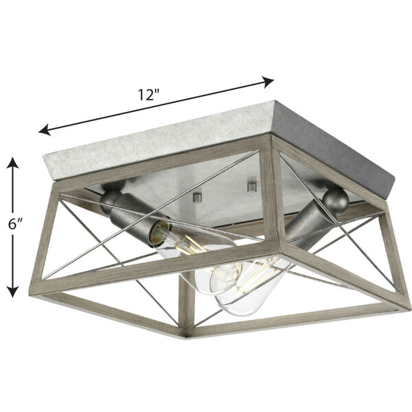Briarwood Galvanized and Bleached Oak Two-Light Flush Mount Ceiling Light, image 3