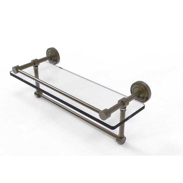 Dottingham 16 Inch Gallery Glass Shelf with Towel Bar, Antique Brass, image 1