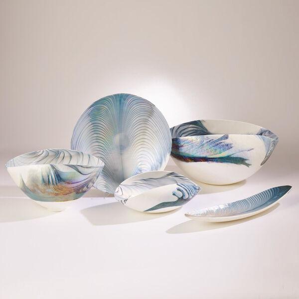 Ivory and Turquoise Six-Inch Feather Swirl Gondola Bowl, image 3