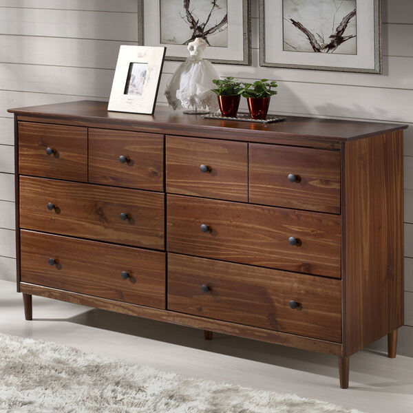 Walnut Six Drawer Dresser, image 1