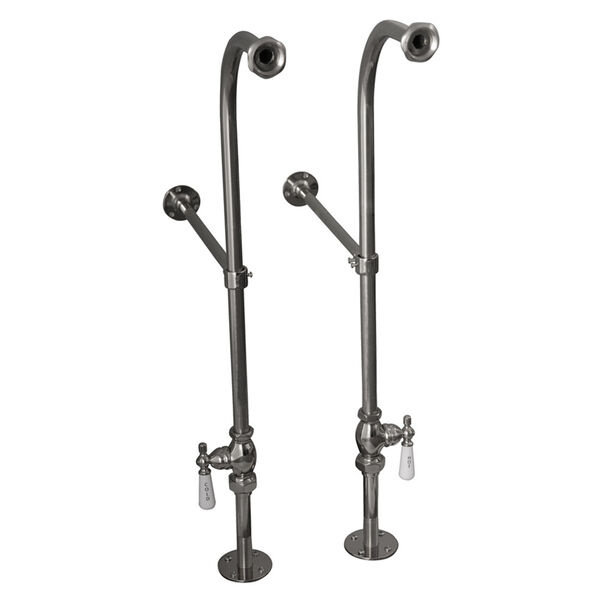 Polished Chrome Tub Kit 60-Inch Cast Iron Slipper, Shower Rod, Filler, Supplies, and Drain, image 2