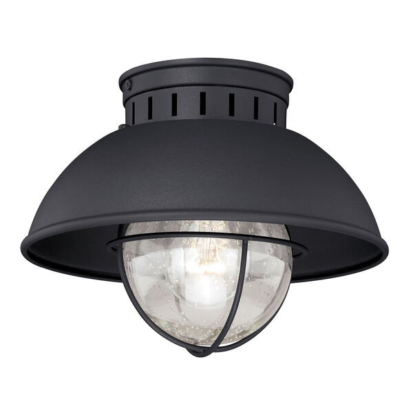 Harwich Textured Black One-Light Outdoor Semi Flush Mount, image 1
