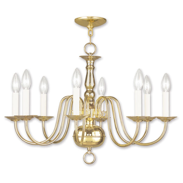 Williamsburgh Eight-Light Polished Brass Chandelier, image 1