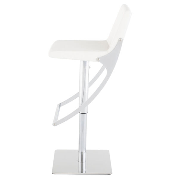 Swing White and Silver Adjustable Stool, image 3