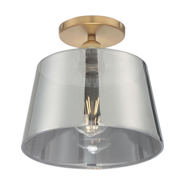 Motif Brushed Brass and Smoked Glass 10-Inch One-Light Semi-Flush Mount, image 1