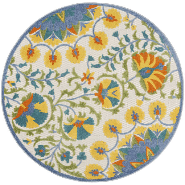 Aloha Blue and Yellow 4 Ft. x 4 Ft. Round Indoor/Outdoor Area Rug, image 2