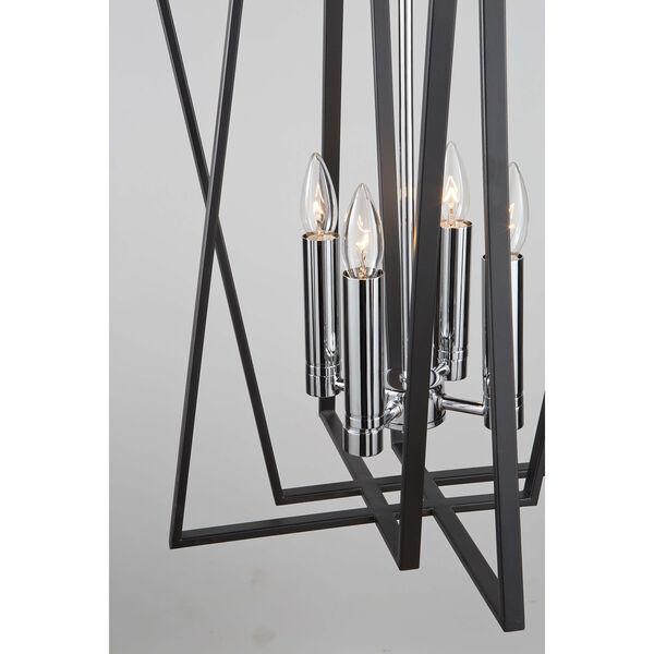 Middleton Matte Black and Polished Chrome Four-Light Geometric Chandelier, image 3