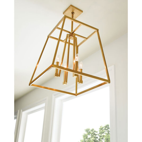 Conant Gilded Satin Brass 18-Inch Four-Light Pendant, image 6