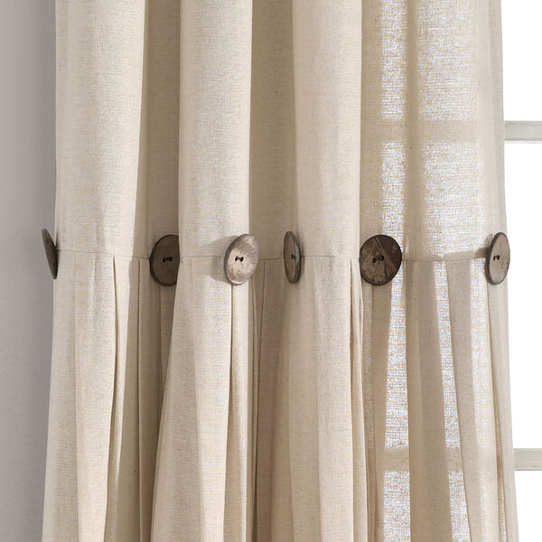 Linen Button Cream 40 x 84 In. Single Window Curtain Panel, image 3