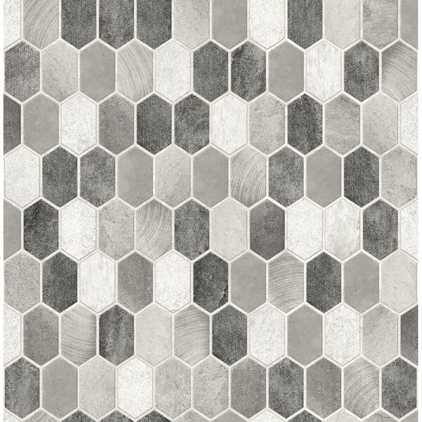 NextWall Gray Brushed Hex Tile Peel and Stick Wallpaper, image 2