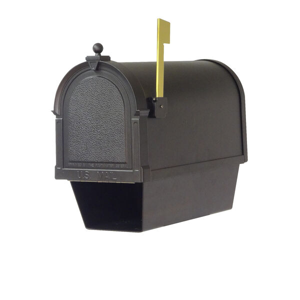 Curbside Black Berkshire Mailbox with Newspaper Tube and Floral Front Single Mounting Bracket, image 6
