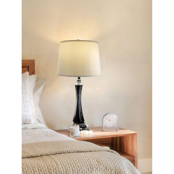 Vena Polished Chrome and Black One-Light Crystal Table Lamp, image 2