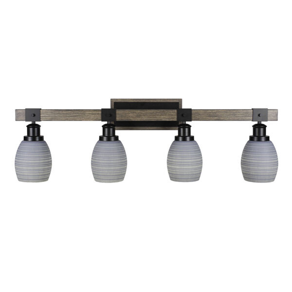 Tacoma Matte Black and Distressed Wood-lock Metal 11-Inch Four-Light Bath Light with Gray Matrix Shade, image 1