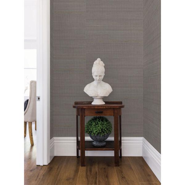 Antonina Vella Elegant Earth Charcoal Abaca Weaves Wallpaper, image 5