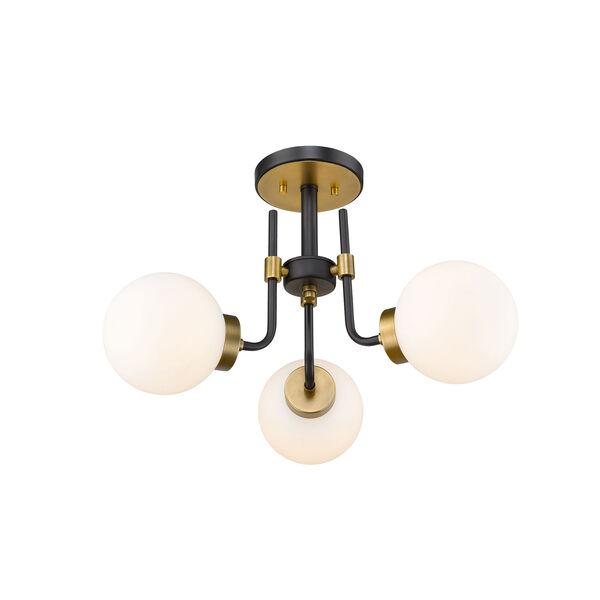 Parsons Matte Black and Olde Brass Three-Light Semi Flush Mount, image 5