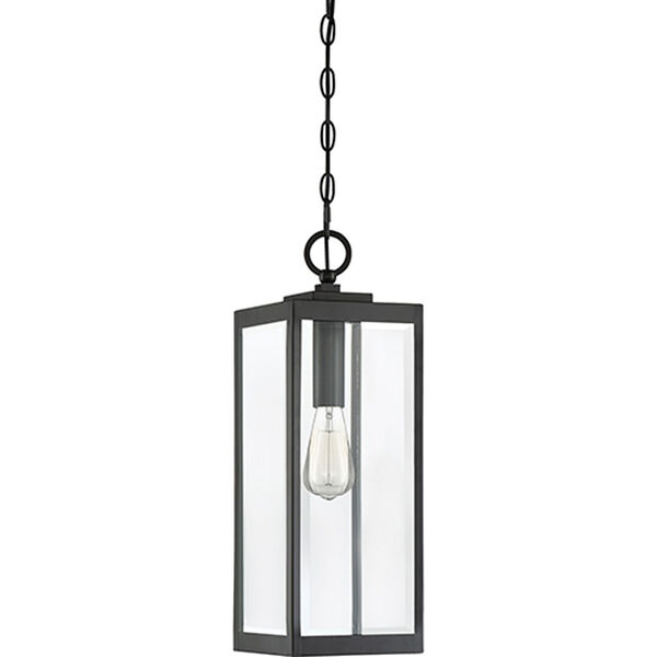 Pax Black One-Light Outdoor Pendant with Beveled Glass, image 2