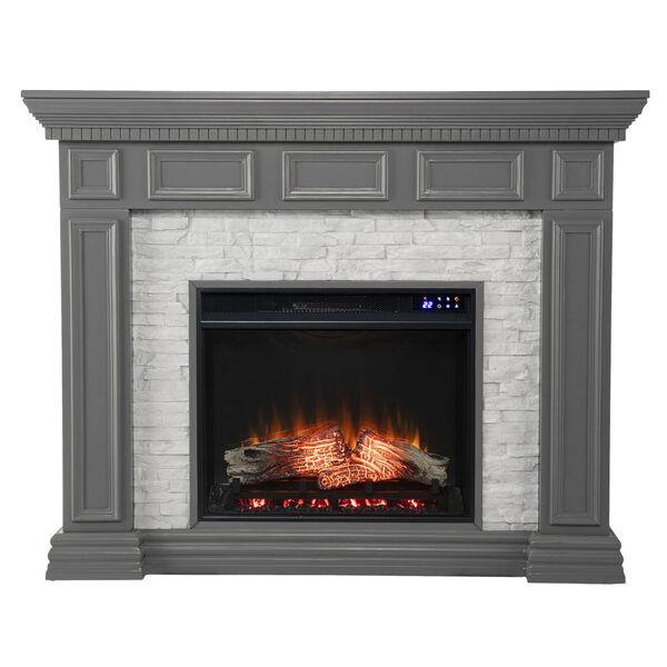 Dakesbury Gray Faux Stone Electric Fireplace, image 2