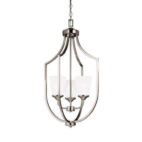 Hanford Brushed Nickel Three-Light Lantern Pendant, image 1