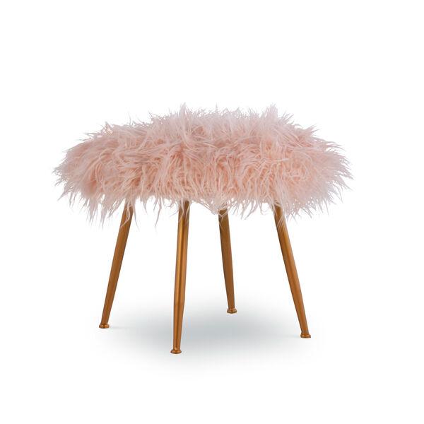 Aiden Pink Fur Stool, image 1