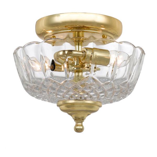 Richmond Polished Brass Two-Light Semi-Flush Mount, image 1