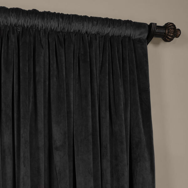 Gunmetal Gray 120 x 100-Inch Doublewide Blackout Velvet Curtain, image 3