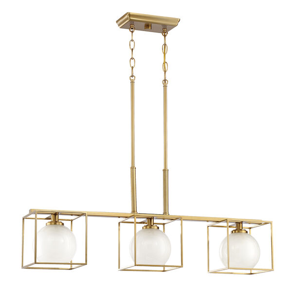 Cowen Brushed Gold Three-Light Chandelier, image 2