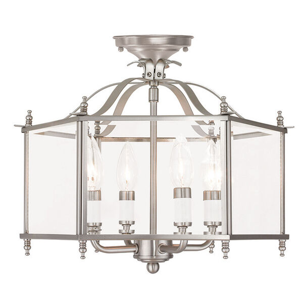 Livingston Brushed Nickel 15.5-Inch Four-Light Convertible Pendant with Clear Beveled Glass, image 2
