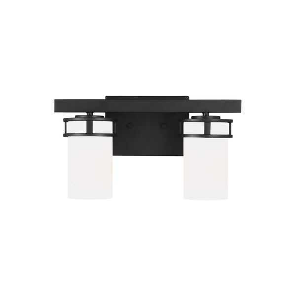 Robie Midnight Black Two-Light Bath Vanity with Etched White Inside Shade Energy Star, image 1