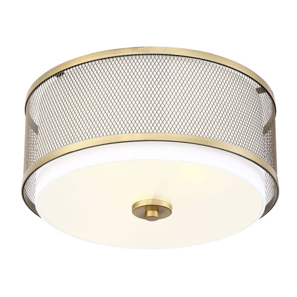 Selby Natural Brass Three-Light Flush Mount Drum  with White Fabric Shade, image 4