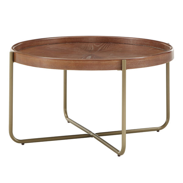 Adam Gold and Wood Coffee Table, image 1